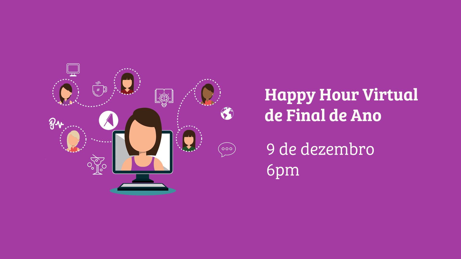 Banner do evento de Happy Hour